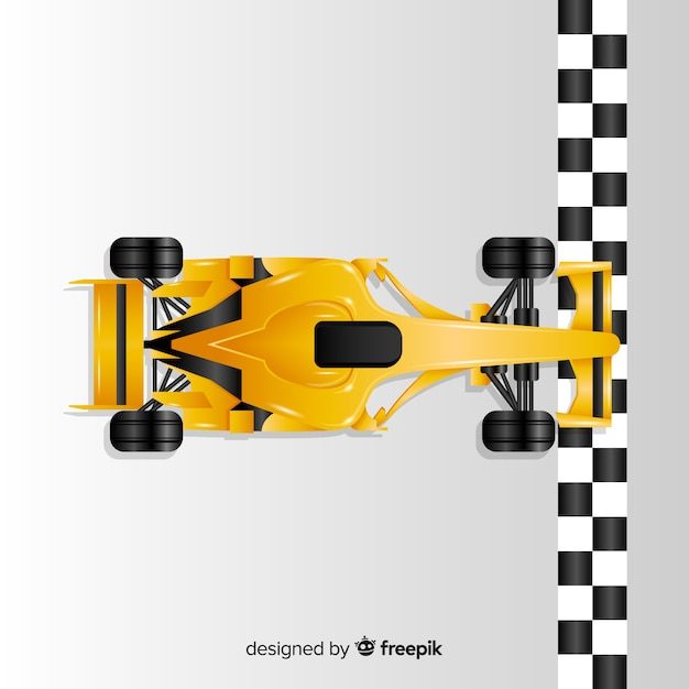 Gradient yellow f1 racing car crosses finish line Free Vector