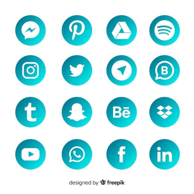Коллекция логотипов gradient в социальных сетях Бесплатные векторы