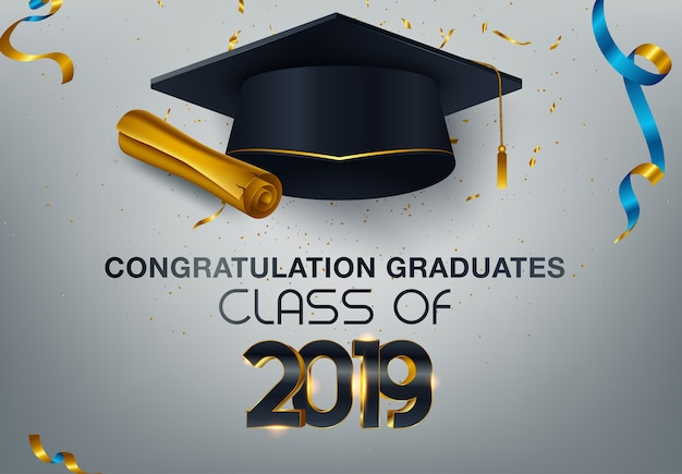 Graduate caps and confetti on a white background Premium Vector