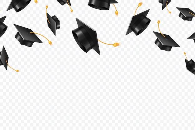 Graduate caps flying Premium Vector