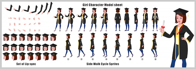 Graduate girl character model sheet with walk cycle animations and lip syncing Premium Vector