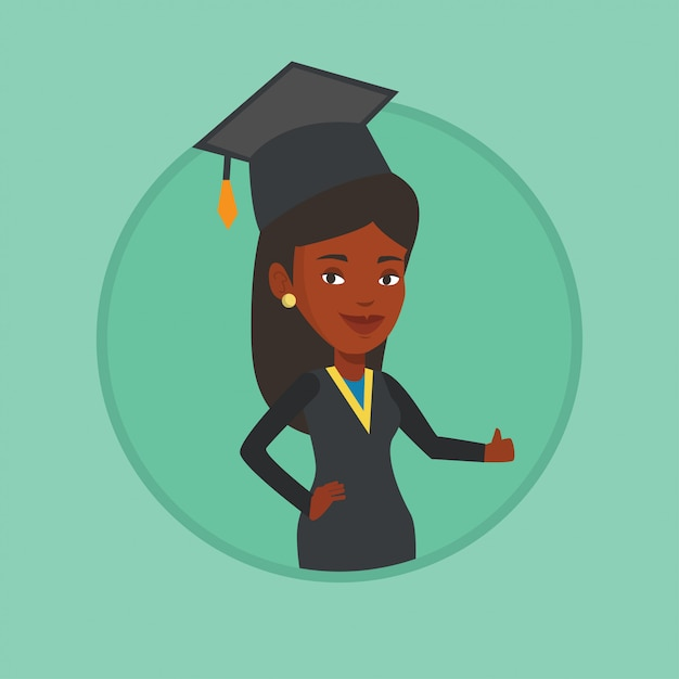Graduate giving thumb up vector illustration. Premium Vector