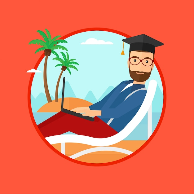 Graduate lying in chaise lounge with laptop. Premium Vector