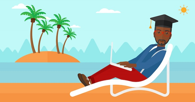 Graduate lying on chaise lounge with laptop Premium Vector