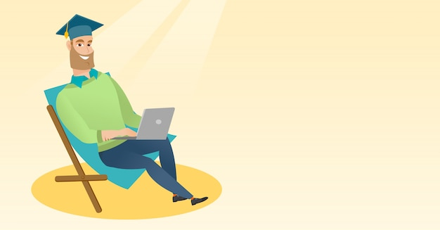 Graduate sitting in chaise lounge with laptop. Premium Vector