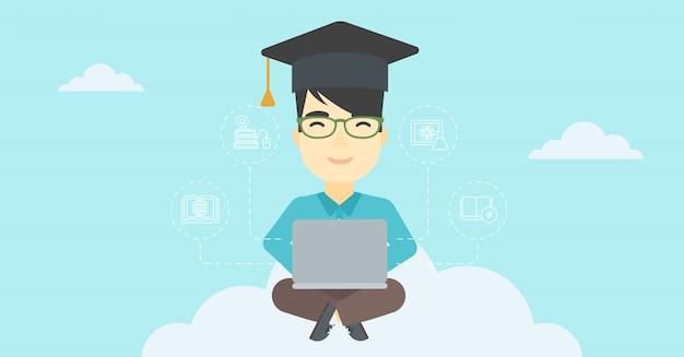 Graduate sitting on cloud vector illustration. Premium Vector