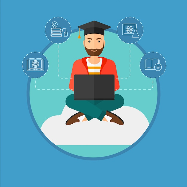 Graduate sitting on cloud. Premium Vector