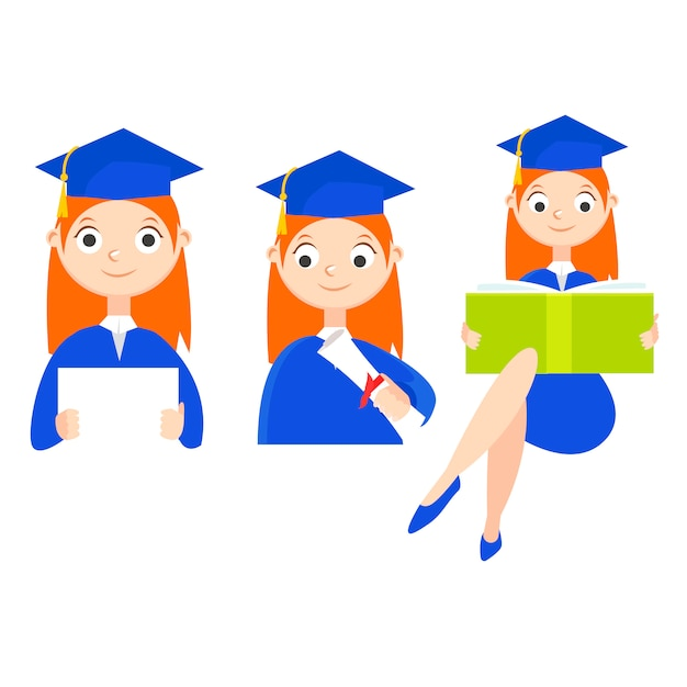 A graduate student with a diploma Free Vector