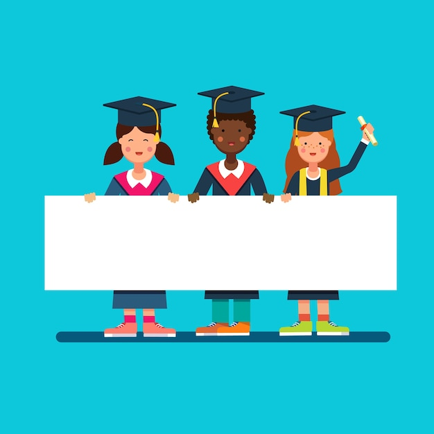 Graduate students girls and boy in mortar hats Free Vector
