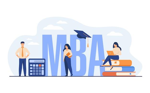 Аспиранты, изучающие бизнес-администрирование и менеджмент, получают степень магистра. Бесплатные векторы