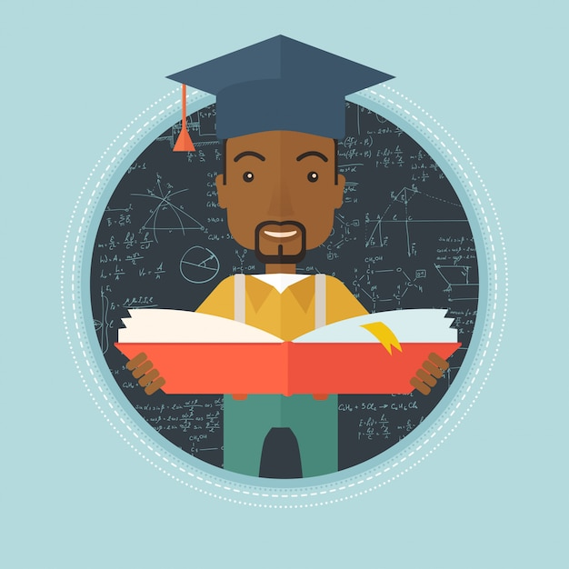 Graduate with book in hands Premium Vector