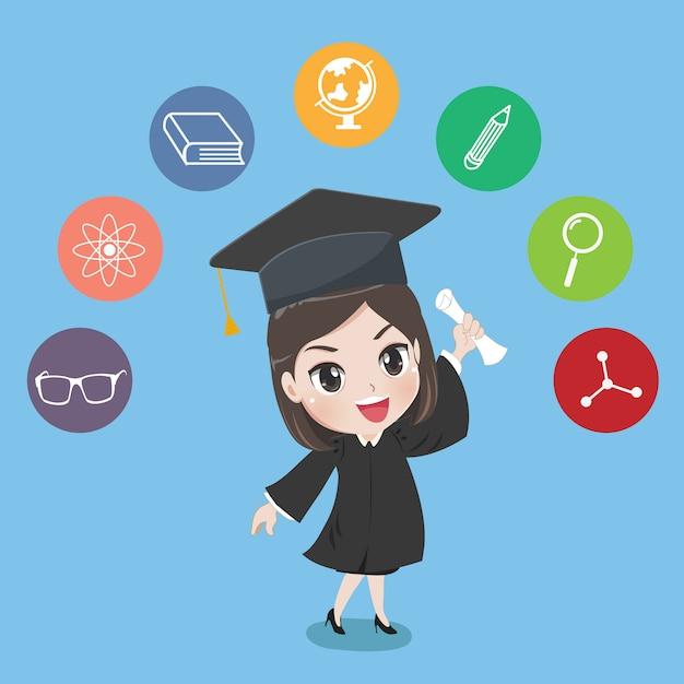 Graduated girl Premium Vector