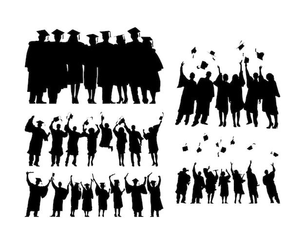Graduated people Free Vector