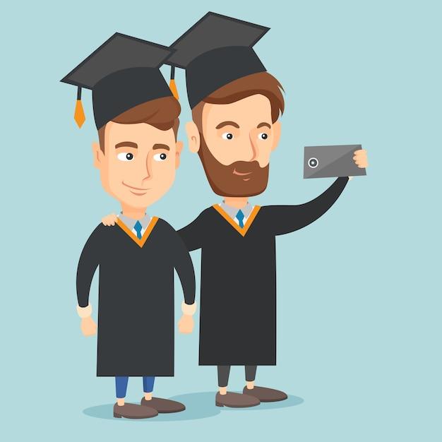Graduates making selfie vector illustration. Premium Vector