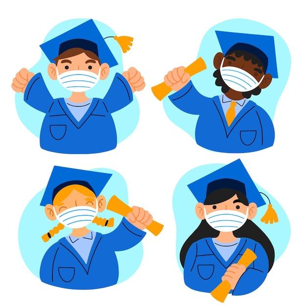 Laureati che indossano maschere illustrazione Vettore gratuito