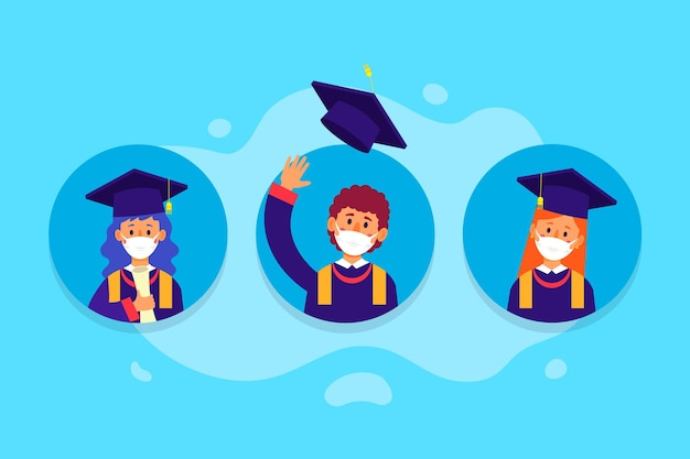 Graduates wearing medical masks collection Free Vector