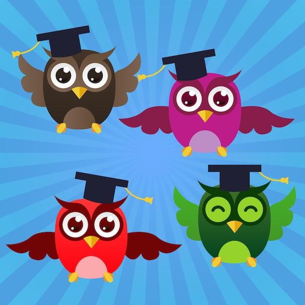 Graduating happy owls Free Vector