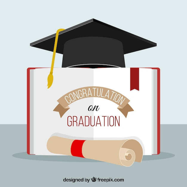 graduation background bireta diploma and open book vector  graduation background bireta diploma and open book vector