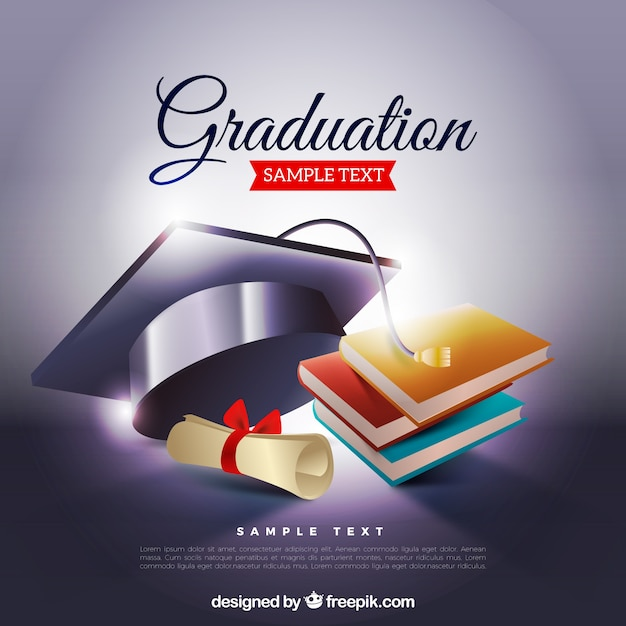 Graduation Book Cover Design ~ Graduation background with biretta and books vector free