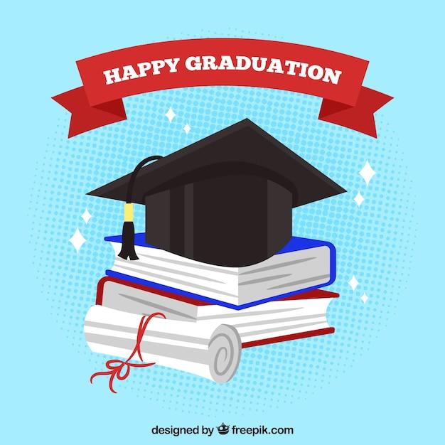 Graduation Book Cover Design ~ Graduation background with biretta and colored books