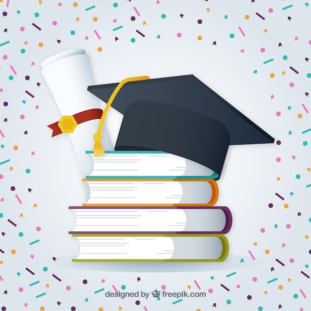 Graduation background with confetti - 91.8KB