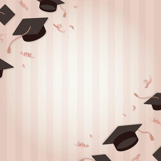 Graduation background with mortar boards vector Free Vector