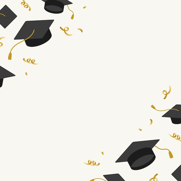 Graduation background with mortar boards vector Free Vector