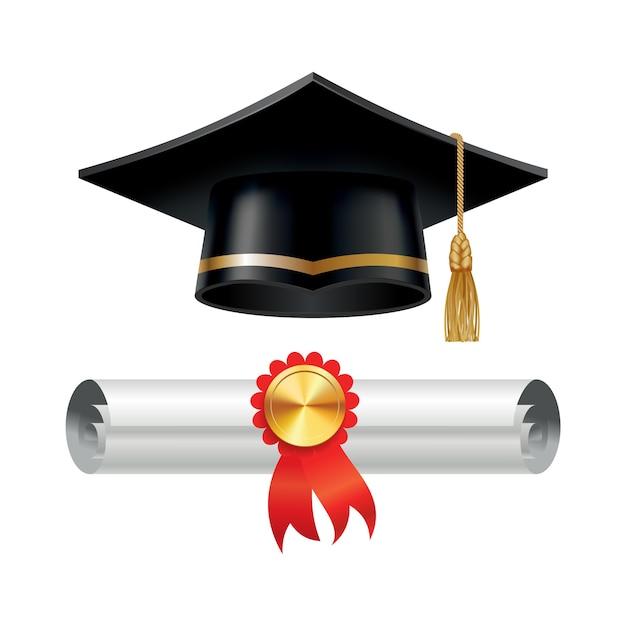 Вручение диплома и свернутый свиток диплома с печатью. закончите образовательную концепцию. Premium векторы