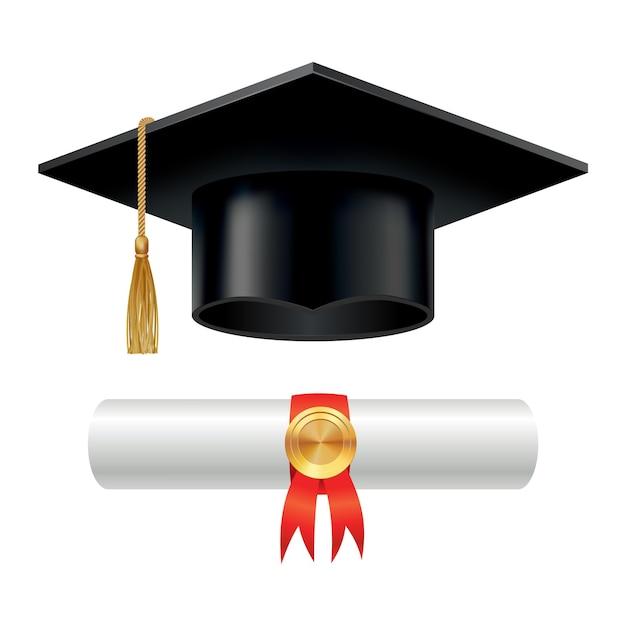 Выпускной колпачок и свернутый свиток диплома с печатью Premium векторы