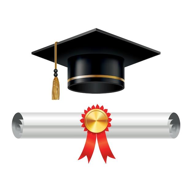 卒業式の帽子とスタンプ付きの巻物の卒業証書 Premiumベクター