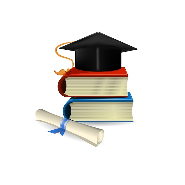 Graduation cap, diploma and books Free Vector