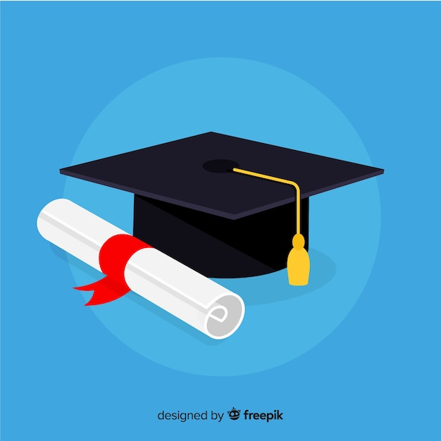 Graduation cap and diploma with flat design Free Vector