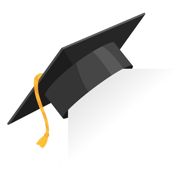 Graduation cap or mortar board on paper corner. vector education design element isolated Premium Vector