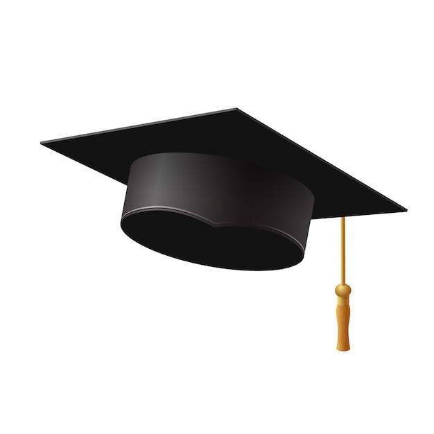 Graduation cap on white background,  illustration. Premium Vector