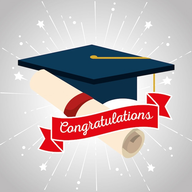 Graduation cap with diploma certificate and ribbon Free Vector
