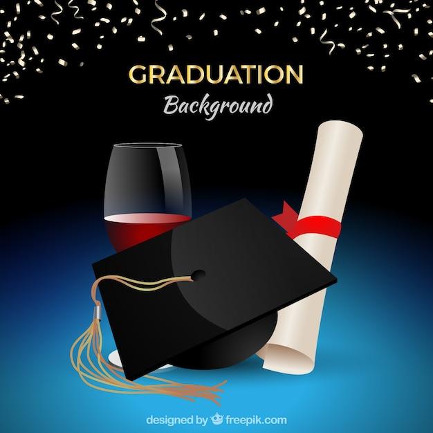 Graduation celebration background with biretta and diploma ...