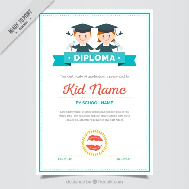 Graduation Certificate For Kids With Blue Details Vector Free Download