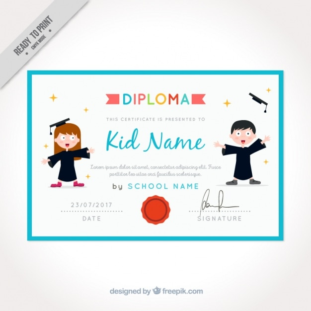 Graduation Certificate For Kids With Blue Frame Vector | Free Download