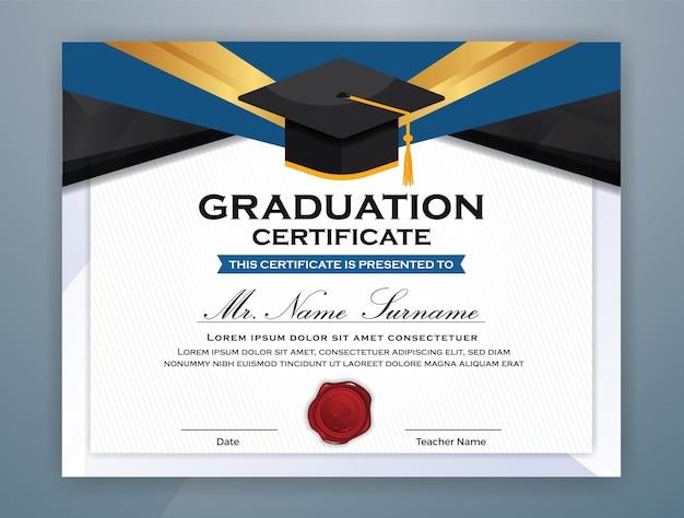 graduation certificate template vector