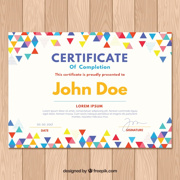 Graduation certificate with colored triangles Free Vector
