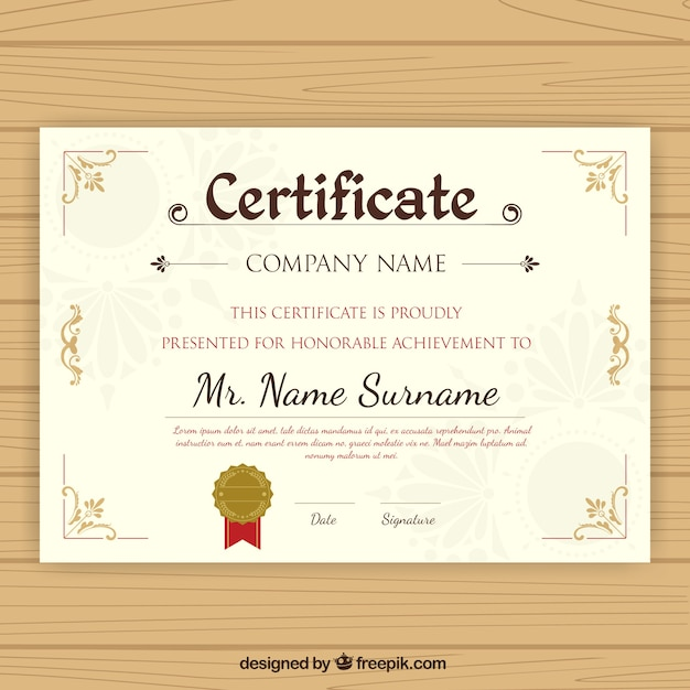 Graduation Certificate With Ornamental Decoration Vector | Free