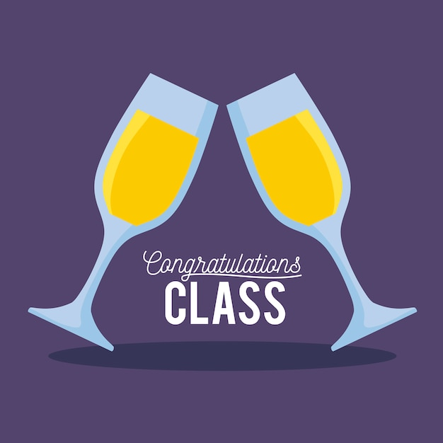 Graduation class celebration card with cups of champagne Premium Vector