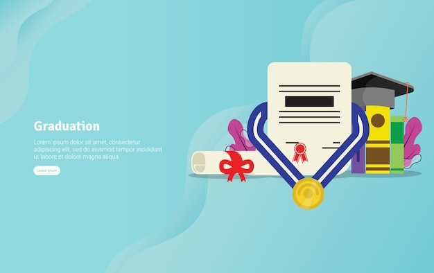 Graduation concept educational illustration banner Premium Vector