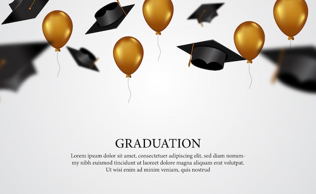 Graduation concept with caps trow with flying golden balloon for academy diploma Premium Vector