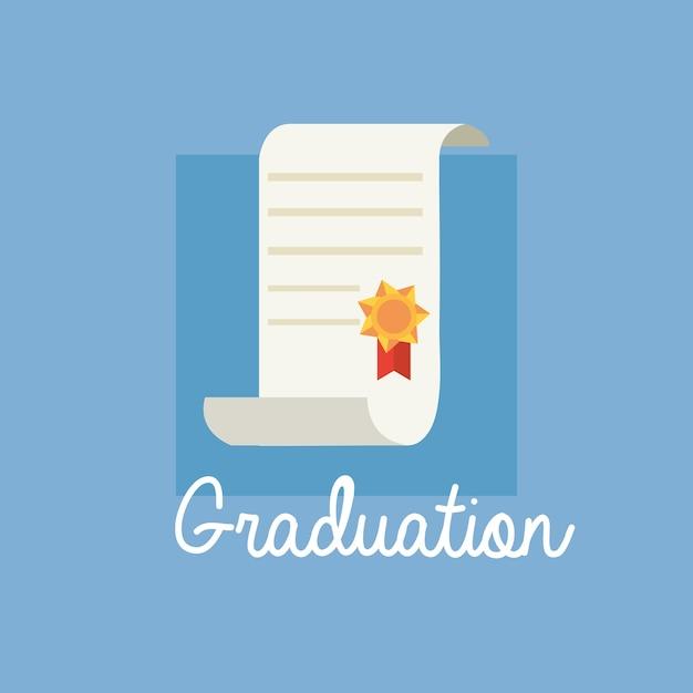 Graduation design with diploma icon Premium Vector