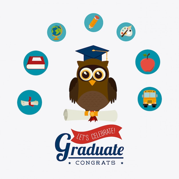Graduation design. Premium Vector