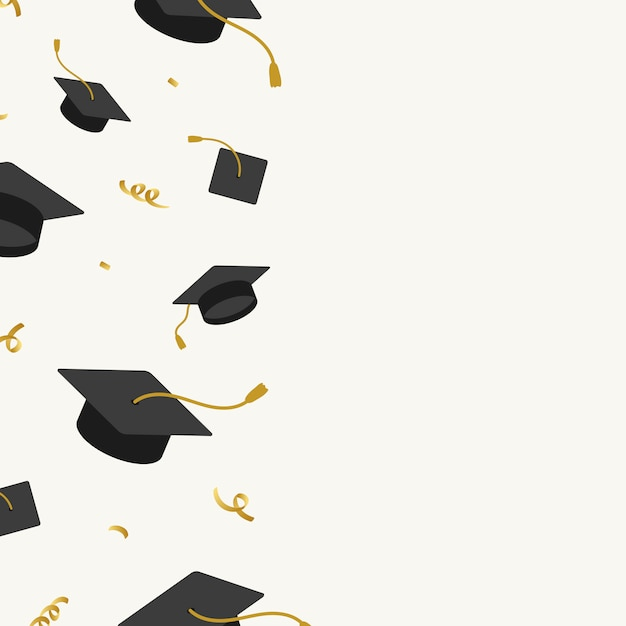 Graduation hats frame Free Vector