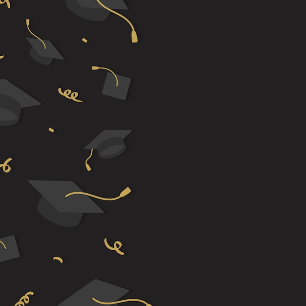 Graduation hats frame Free Vector