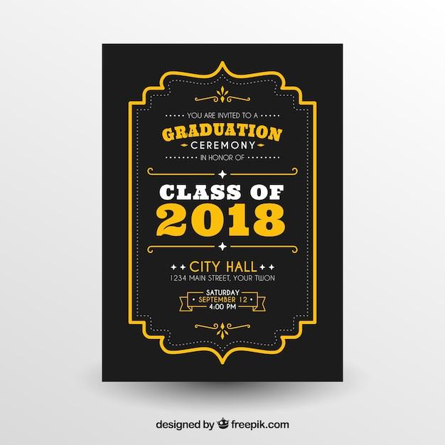 Graduation invitation template flat design Free Vector