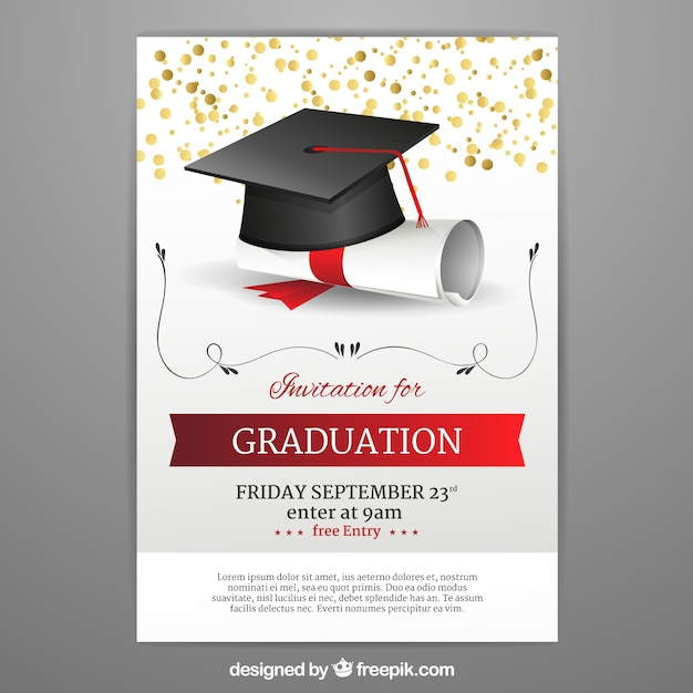 graduation invitation template in realistic style vector